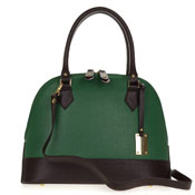 Giordano Italian Made Green and Brown Leather Structured Tote Handbag
