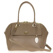 Giordano Italian Made Taupe Embossed Patent Leather Large Satchel Bag