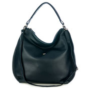 Bruno Rossi Italian Made Navy Blue Calf Leather Oversized Hobo Bag