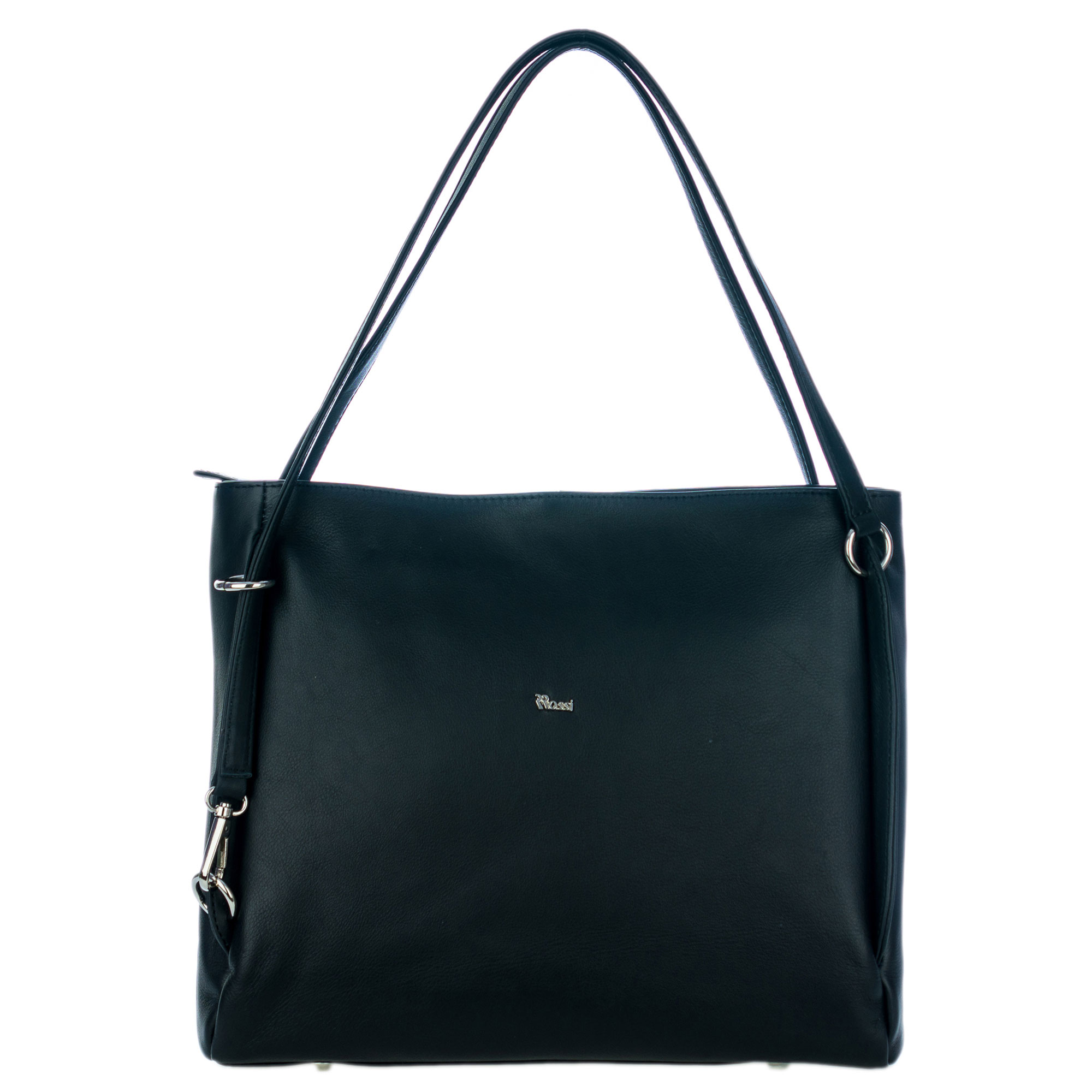 Bruno Rossi Italian Made Black Calf Leather Carryall Tote Bag