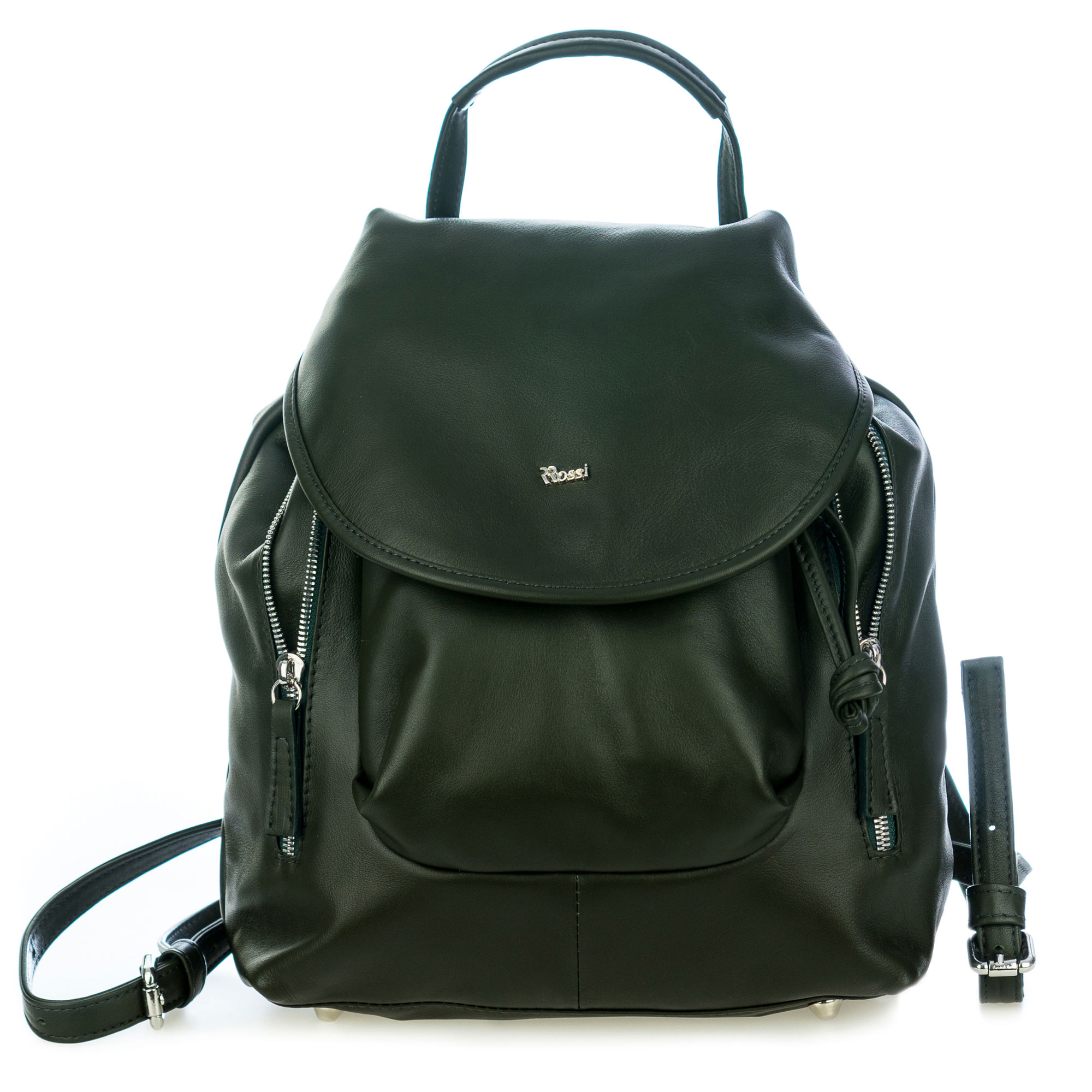 Bruno Rossi Italian Made Dark Green Calf Leather Women's Backpack