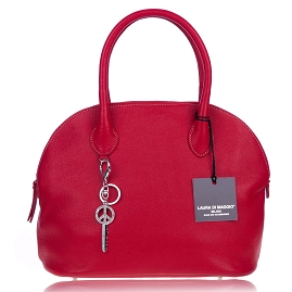 Laura Di Maggio Italian Made Red Pebbled Leather Bowler Tote Bag - / Clearance /