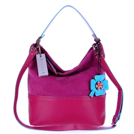 Nicoli Italian Made Fuchsia Suede Bucket Hobo Bag With Flower - / Clearance /