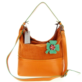 Nicoli Italian Made Orange Suede Bucket Hobo Bag With Flower - / Clearance /