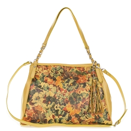 Enriched Italian Made Yellow Leather Tote Handbag with Flower Design - / Clearance /