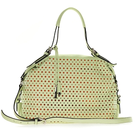 Cromia Italian Made Pistachio Green Perforated Leather Carryall Satchel Handbag