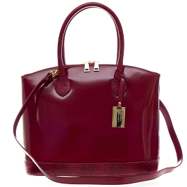 AURA Italian Made Cherry Red Patent Leather Tote