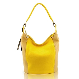 Guia'S Italian Made Yellow Calf Leather Designer Handbag - Bucket
