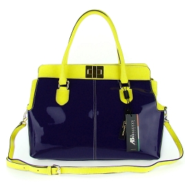 Asia Bellucci Italian Made Purple & Yellow Patent Leather Large Structured Carryall Designer Satchel - / Clearance /