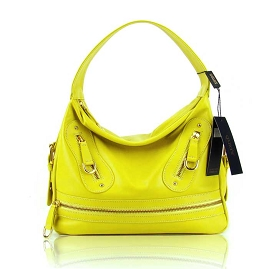 Guia'S Italian Made Yellow Calf Leather Designer Handbag - Small Satchel