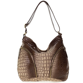 Giordano Italian Made Brown Croc Embossed Leather Large Hobo Bag With Pockets - / Clearance /
