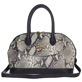 Giordano Italian Made Black Python Embossed Leather Tote