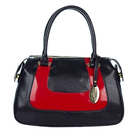 Giordano Italian Made Black & Red Leather Small Tote Handbag - /CLEARANCE/