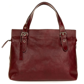 Robe di Firenze Italian Made Red Organically Treated Leather Large Tote Handbag