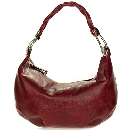 Robe di Firenze Italian Made Burgundy Red Organically Treated Leather Hobo Bag