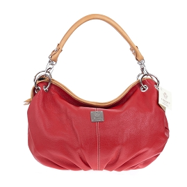 Medichi Italian Made Pebbled Leather Pleated Hobo Bag - Red & Beige - / Clearance /
