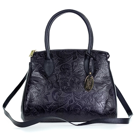 Giordano Italian Made Black Floral Embossed Leather Large Tote Handbag