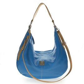 Medichi Italian Made Blue Pebbled Leather Large Shoulder Hobo Bag