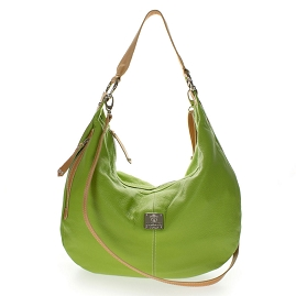 Medichi Italian Made Green Pebbled Leather Large Shoulder Hobo Bag