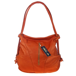 Stephen Italian Made Orange Leather Top Handle Designer Handbag - / Clearance /
