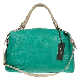 Carol J. Italian Made Turquoise Green Snake Embossed Leather Satchel