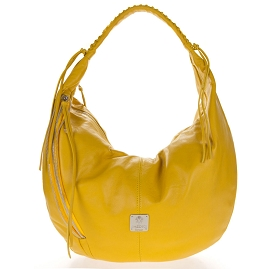 Medichi Italian Made Yellow Leather Zip Front Pocket Large Hobo Bag - / Clearance /
