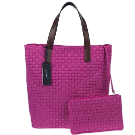 Carol J. Italian Made Fuchsia Woven Embossed Leather Tote With Pouch