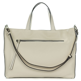 Gianni Chiarini Italian Made Beige Pebbled Leather Large Carryall Tote Bag with Pocket
