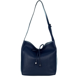 Gianni Chiarini Italian Made Navy Blue Pebbled Leather Slouchy Open Top Shoulder Bag