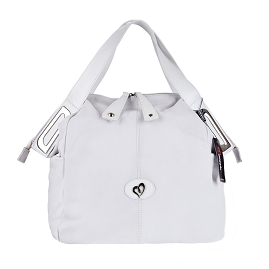 Megghi Italian Designer White Leather Large Tote Handbag - / Clearance /