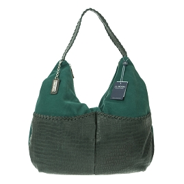 Arcadia Italian Made Green Suede Double Pocket Large Hobo Bag