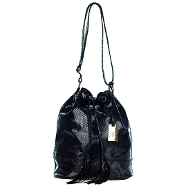 Emilio Masi Italian Made Black Snake Embossed Patent Leather Drawstring Bucket Bag