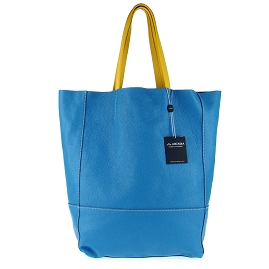 Arcadia Italian Made Cobalt Blue Calf Leather Oversize Designer Shopper Tote Bag