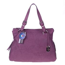 e8cd571ec2 Giordano Italian Made Violet Flower Embossed Leather Tote Handbag