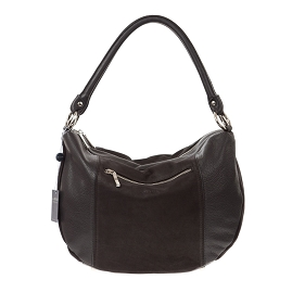 Arcadia Italian Made Black Leather Hobo Bag Handbag