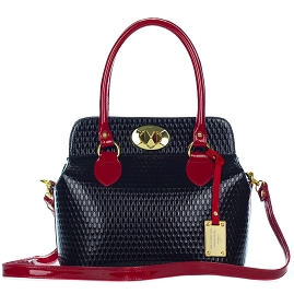 AURA Italian Made Black & Red Patent Leather Structured Tote Handbag