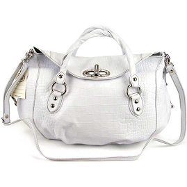 Robe Di Firenze Italian Designer White Croc Embossed Leather Handbag - / Clearance /