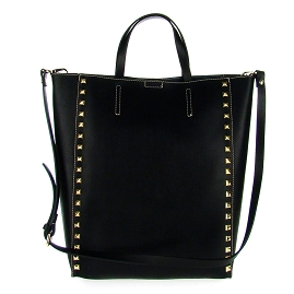 Asia Bellucci Italian Made Black Leather Large Structured Designer Studded Tote - / Clearance /