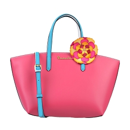 Braccialini Italian Made Fuchsia Pink Leather Tote with Flower