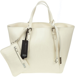 Gianni Chiarini Italian Made Cream Leather Structured Tote With Wallet