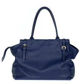 Gianni Chiarini Italian Made Navy Blue Pebbled Leather Large Slouchy Carryall Tote