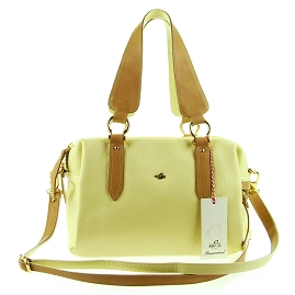 Bruno Rossi Italian Made Lemon Yellow Calfskin Leather Satchel Shoulder Bag
