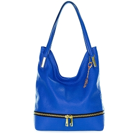 Classe Regina Italian Made Bright Blue Leather Hobo Bag with Pocket - / Clearance /
