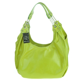Cosette Italian Made Lime Green Glazed Leather Designer Hobo Bag