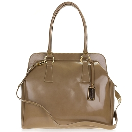 Giordano Italian Made Beige Glazed Leather Large Satchel Bag - / Clearance /