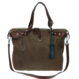 Veneta Italian Brown Snakeskin Embossed Leather Tote Handbag - / Clearance /