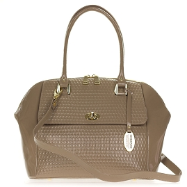 Giordano Italian Made Taupe Embossed Patent Leather Large Satchel Bag - / Clearance /