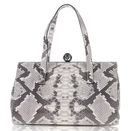 CAMPANE Made in Italy Python Snakeskin Embossed Leather Handbag Purse