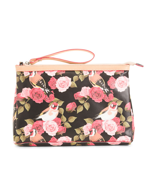 Cavalcanti Large Makeup Bag in Floral Print Leather Made in Italy