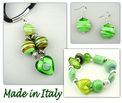 Italian Venetian Murano Jewelry Set: Necklace, Bracelet And Earrings
